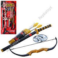 Набор Ниндзя меч, лук, стрелы, сюрикены 2 шт., на листе (ОПТОМ) 709146