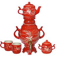 Самовар красный 4,5 л + две чашки 270 мл+ чайник 450 мл