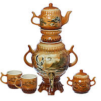 Самовар коричневый Орел 4,5 л + две чашки 270 мл+ чайник 450 мл