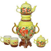 Самовар желтый с цветами 4,5 л + две чашки 270 мл+ чайник 450 мл
