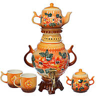 Самовар оранжевый с цветами 4,5 л + две чашки 270 мл+ чайник 450 мл