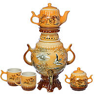 Самовар коричневый Природа с птицей  4,5 л + две чашки 270 мл+ чайник 450 мл