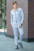 Мужской спортивный серый костюм с нашивками на кофте и штанах