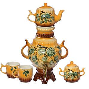 Самовар коричневый зеленые листья 4,5 л + две чашки 270 мл+ чайник 450 мл