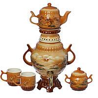 Самовар коричневый Природа 4,5 л + две чашки 270 мл+ чайник 450 мл