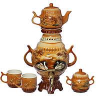 Самовар коричневый 2 лебедя 4,5 л + две чашки 270 мл+ чайник 450 мл