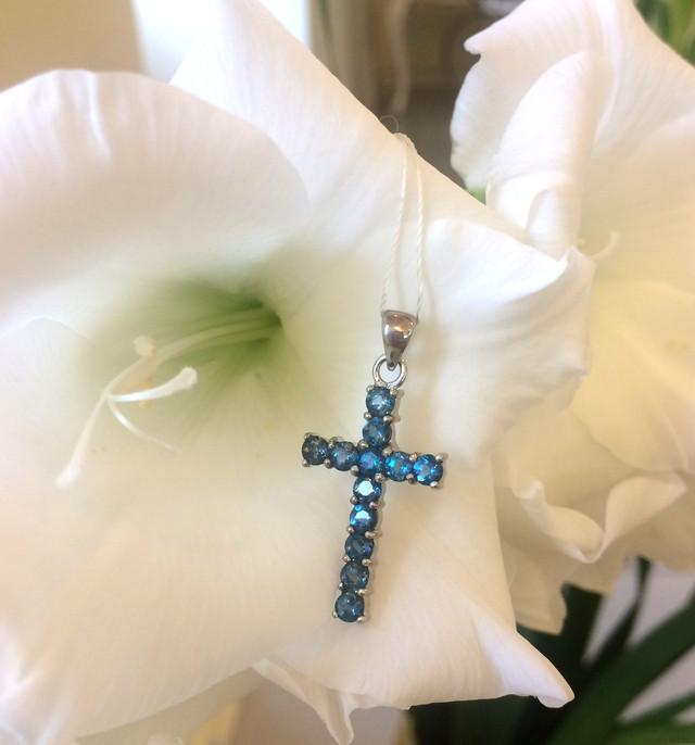 Серебряный крест с Лондон топазом фото 5