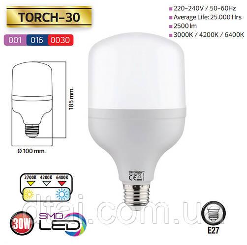 Лампа LED высокой мощности Horoz Torch 30 Вт E27 6400K (001-016-0030)