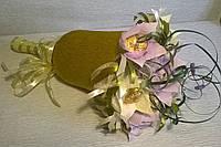 """Композиция букет цветы из конфет """"Колокольчик"""" цвет сиреневый и белый"""