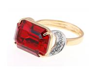 """Кольцо """"Шквал"""" с кристаллами Swarovski, покрытое золотом с родием (e514q015)"""