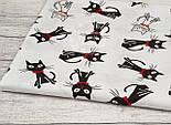 Польская бязь с чёрными котами с бантиком на белом фоне (№153), фото 5