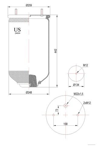 Пневмоподушка с плитой 24004P-US / 34004P / 94004P / MD14004 / RML75115 / P10.4004.S02 /