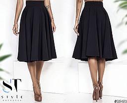 Шикарная юбка-солнце миди длины с завышенной посадкой., фото 3
