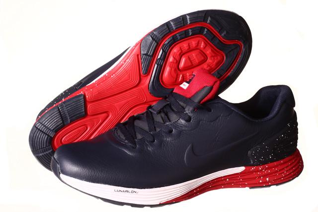 Кроссовки мужские Nike Lunarlon Flyknit Max синие с красным