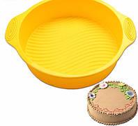 Форма для выпечки силиконовая круглая торт  22,5 см с ручками, фото 1