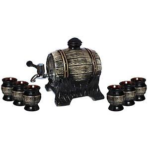 Бочка для вина черная + 6 рюмок