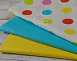 Ткань с цветными горохами 40 мм на белом фоне (№151), фото 6