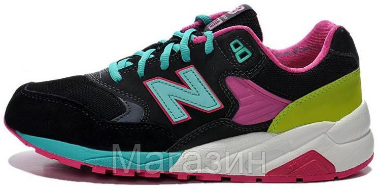 """Женские кроссовки New Balance 580 """"Black/Pink/Green"""" (в стиле Нью Баланс 580) черные"""