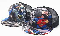 Летняя кепка- реперка  Супермен , Бетман, детская, черная
