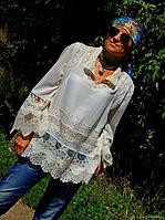 Блузка-туника в БОХО стиле с коллекционным кружевом (№41)