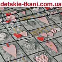 Бязь с сердцами Тильды красного цвета в стиле пэчворк (№110а)