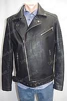 Мужская демисезонная куртка из кож. заменителя косуха черная
