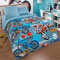 Ткань для детского постельного белья, поплин Мотокросс компаньон ( синяя ткань)
