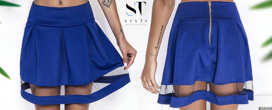 Актуальная мини юбка с прозрачными вставками по низу. , фото 2