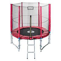 Батут диаметром 252см (8ft) с двойными ножками для детей спортивный с лестницей и внешней сеткой