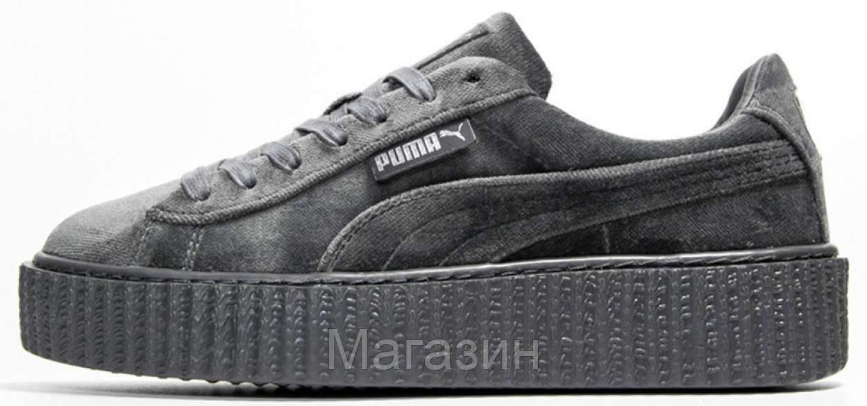 Женские кроссовки Puma Rihanna Fenty Creeper Velvet Gray (в стиле Пума  Рианна) серые 9ac8437852b70