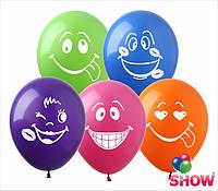 """Воздушные шарики смайлики группа 2 пастель ассорти 12"""" 30см"""