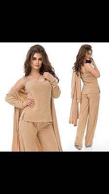 Женский костюм тройка (кардиган, штаны, майка) 84-005
