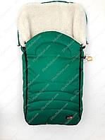 Зимний чехол в коляску санки на овчине For Kids (зеленый)
