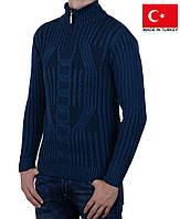 Вязанный мужской свитер под горло, на молнии.Полустойка ворот.