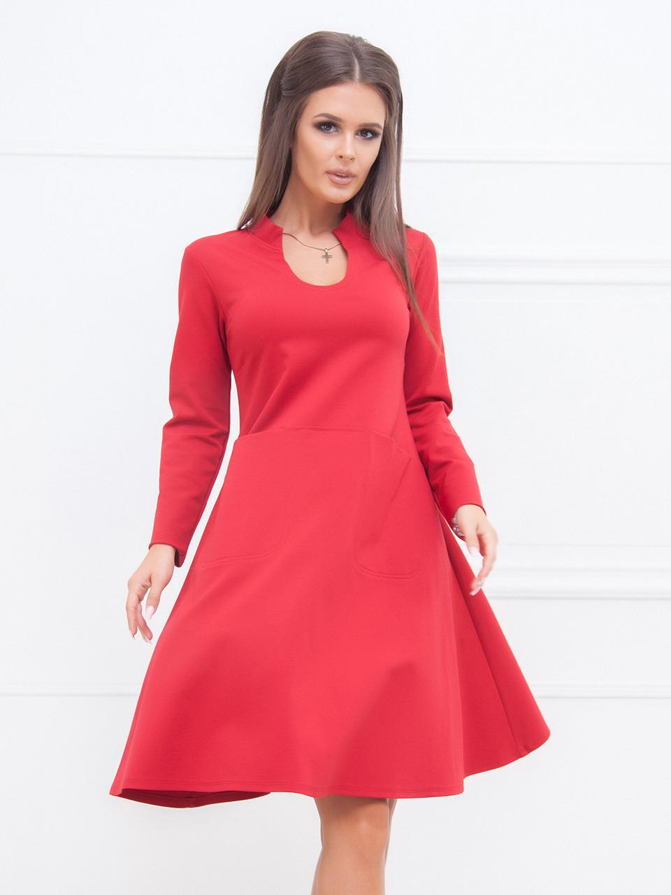 Демисезонное Платье Таисия в красном цвете