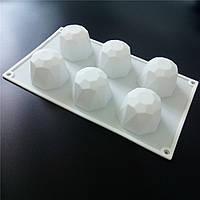 Силиконовая форма для евродесерта Алмаз  Кристалл 6 шт, фото 1
