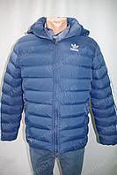 """Мужская зимняя куртка """"Adidas"""" с капюшоном очень теплая синяя"""