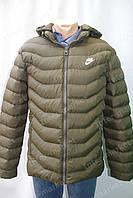 "Мужская зимняя куртка ""NIKE"" с капюшоном очень теплая хаки"