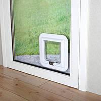 Дверца для кошки для стеклянной двери, 17.4 х 18.5 см, белая