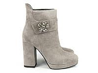 Стильные ботиночки серого цвета на каблуке, фото 1