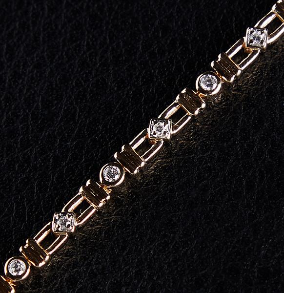 Жіночий браслет з жовтого золота з діамантами С12Л4№9