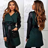 Зеленый стильный осенний кашемировый кардиган c кожаными карманами, рукавами и поясом. Арт-2265/11