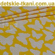 Ткань с бабочками жёлтого цвета (№91).