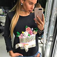 Модный женский свитшот с цветами, фото 1