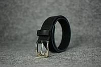 Кожаный ремень под джинсы  10901  Черный