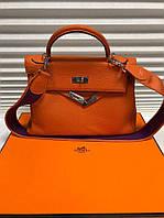 Сумка женская кожаная Hermes Kelly реплика Luxe 32 см, цвета в ассортименте