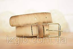Детский кожаный ремень  10912  Бежевый (с белой пряжкой)