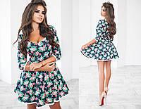 Короткое платье цветочного принта с кружевом