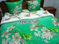 Комплект постельного БЯЗЬ Турция/ Яблони в цвету, ярко-зеленый фон 0750