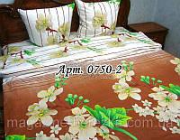 Комплект постельного БЯЗЬ Турция/ Яблони в цвету, коричневый фон 0750-2